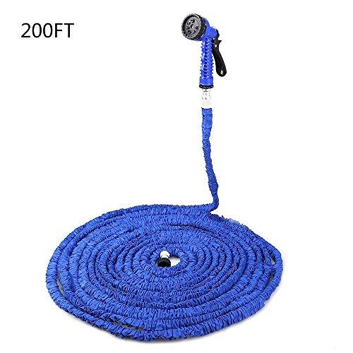 SINCOO 200FT Expandalble Garden Hose Water Pipe with 7 Modes Spray Gun 200FT Blue