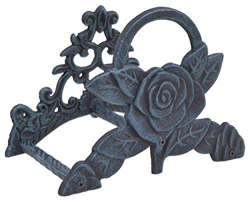 Garden Water Hose Holder Rose Flower Verdigris Cast Iron Hanger Reel 95 Wide
