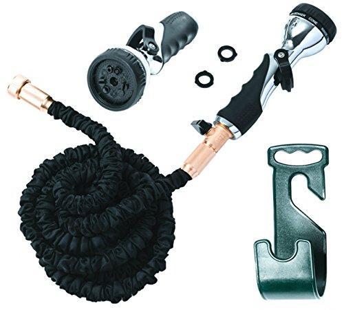 Vela 50ft Flexible Garden Hose - Expandable Heavy Duty Flex Water Hose  Hose Holder Hose Nozzle w 9 Spray Settings - BEST As Seen on TV Kink-Free Garden Hose for Car Washing Pressure Washing