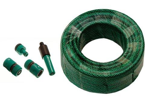 Green Garden Hose Pipe Reinforced Longitud 20M 12mm Diámetro Con Herrajes