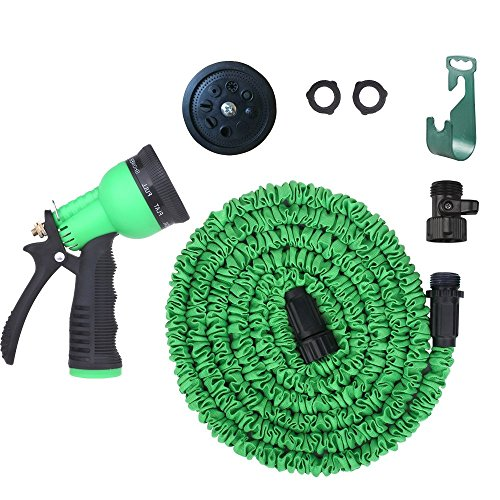 Plastic Connectors Expandable Garden Hose By Lovelygarden - 50ft Green- The Best Expanding Garden Hose For All