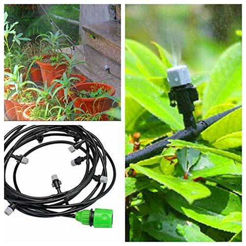 HANDYCRF 10m Garden Hose Micro Irrigation System Garden Flower Watering Sprinkler Kits Spray Cooling System 12pcs Atomizing Nozzles