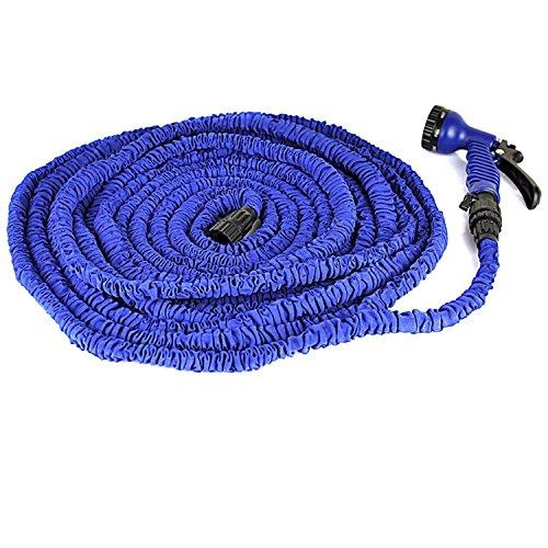 KLARENÂ 100ft Latex Expanding Hose Magic Flexible Expandable Garden Water Hose with 8 Functions Spray Nozzle Blue 100FT
