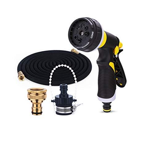 SJJSP The Toughest Elastic Hose Multi-Function Sprayer Latex Material Can Be Extended 15 Meters Garden Hose Brass FittingsBlack