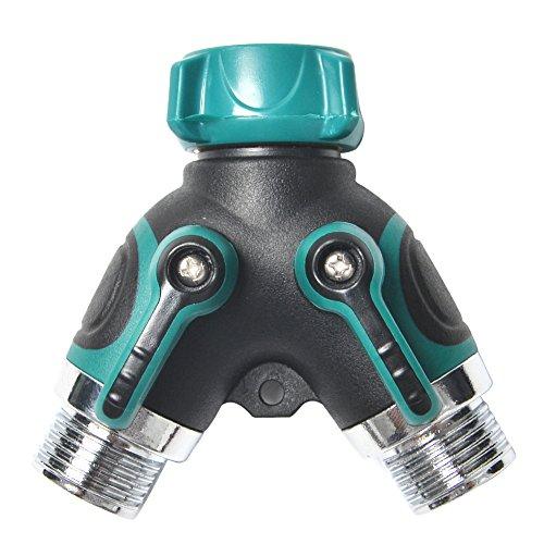 2 Way Garden Water Hose SplitterHose Y Ball Valve Connector with Zinc Alloy with Comfortable Rubberized Grip by Arnagar