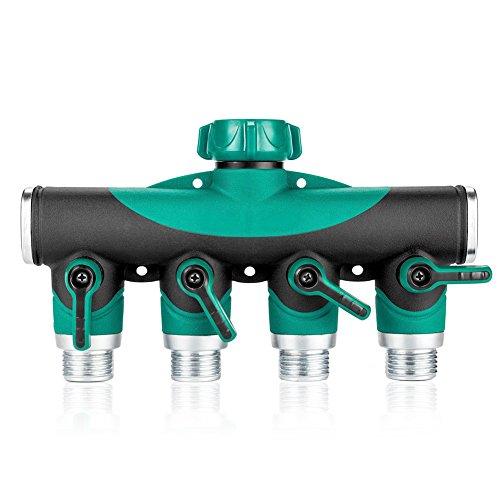 Gookit 4 Way Hose Splitter 4-way Manifold Arthritis Friendly Watering Connector Quick Switch Water Valve Extender