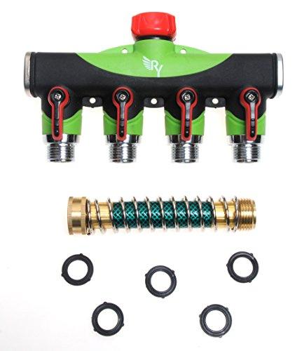 Raaya 4 Way Hose Splitter With Short Garden Coil Hose Arthritis Friendly Leak-proof Water Splitter Quick Switch