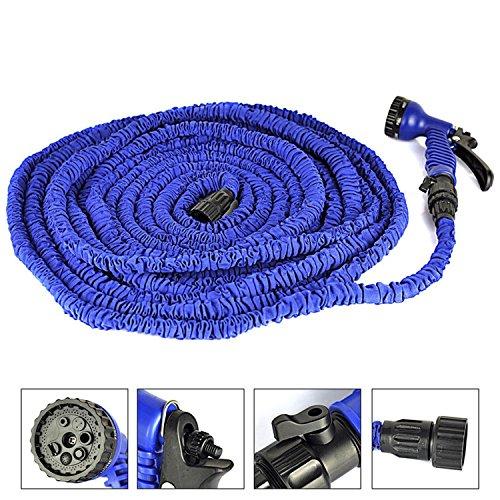 PrimeTrendz TM Expanding Hose Magic Flexible Expandable Garden Water Hose With 7 Functions Spray Nozzle and Shut-off Valve-Blue 50FT