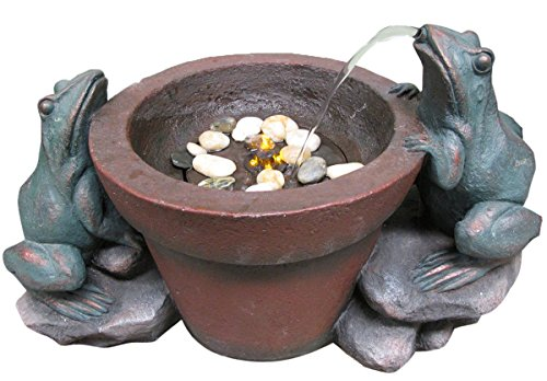 Welland 23&quot Two Bronze Frogs Playing Water Fountain