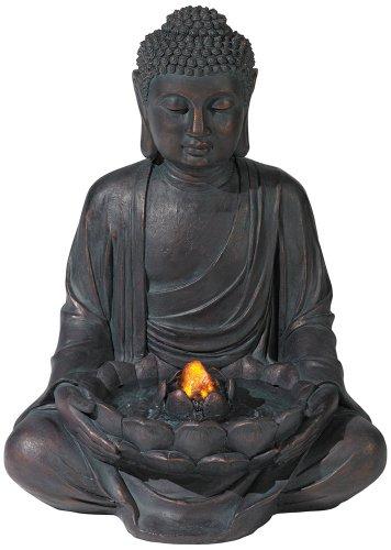 Meditating Aged Bronze Buddha Led Indooroutdoor Fountain