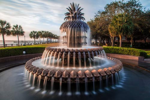 Charleston South Carolina - Pineapple Fountain - Photography A-93036 24x16 Gallery Quality Metal Art
