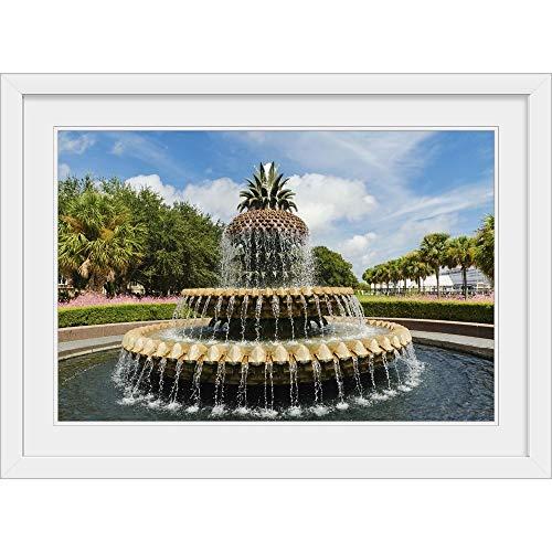 GREATBIGCANVAS USA South Carolina Charleston Waterfront Park Pineapple Fountain White Framed Wall Art Prin