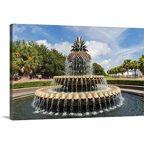 USA South Carolina Charleston Waterfront Park Pineapple Fountain Canvas Wall Art Print