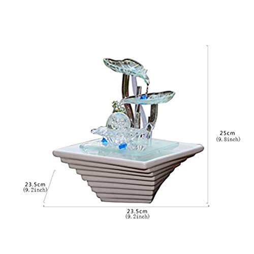 LIN-rlp Sculptures Water OrnamentsHome Decoration Water Humidifier Office Fountain Decoration Tabletop Fountain with Light-Desktop Fountain 98inch Color  Desktop Fountain Size  98inch