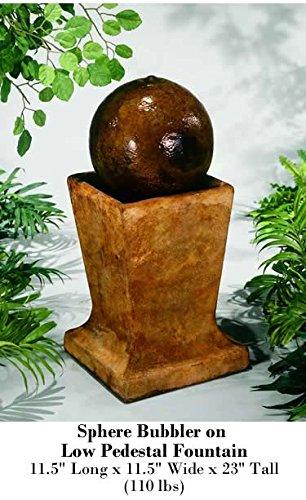 Henri Studio Sphere Bubbler On Low Pedestal Fountain With Plume Light