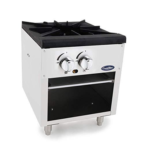CookRite ATSP-18-1 Single Stock Pot Stove Natural Gas Stainless Steel Countertop Portable Commercial Gas Burner Range - 80000 BTU