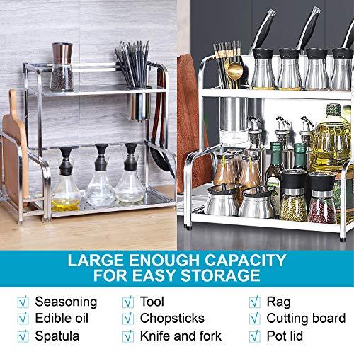 2-Tier Standing Rack Kitchen shelf,Spice Jars Bottle Stand Holder,Thickened double stainless steel,Countertop Storage Organizer Shelf Holder(With chopping block)