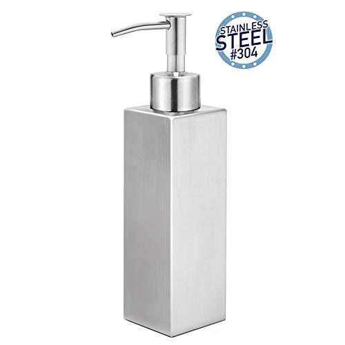 Premium Stainless Steel Countertop Soap Dispenser Modern Square Refillable Liquid Hand Dish Soap Dispenser for Kitchen and Bathroom Brushed 358ml121oz Slim