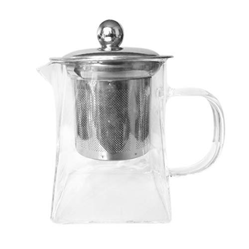 AWEPOL Heat Resistant Glass Teapot with Strainer Filter Infuser Tea Pot 350ml Stovetop Safe Tea Kettle Blooming and Loose Leaf Tea Maker Set 12X11X12CM Transparent