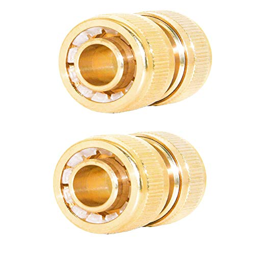 Joywayus 34 ID Hose Solid Brass Fitting Garden Tools Quick Repair Damaged Leaky Adapter Garden Water Irrigation Connector 2 Pack