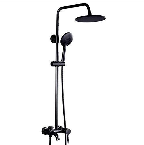 SISHUINIANHUA Rain Shower System Square Top Spray Hand Shower Height Adjustable Black
