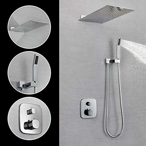 Shower Rain System3-Function Bathroom Rain Mixer Set with 10 Rain Head 3 Spray Hand Chrome