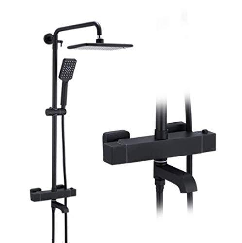 Yadianna Bathroom Rain Mixer Shower Combo Set Wall Mounted RainfallShower System Black Bathroom Shower Set