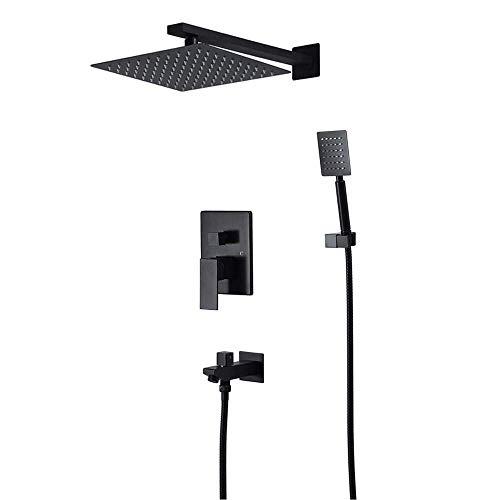 ZXY-NAN Handheld Showerheads Shower Set Bathroom Shower System with Rainfall Shower Head Handheld Shower Head Complete KitPremium Matte Black Rainfall Shower System Bathroom Accessories