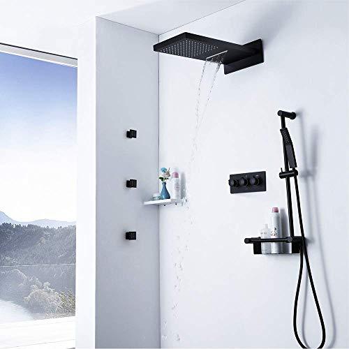 ZXY-NAN Handheld Showerheads Shower System Square Shower Head Handheld Shower Wall Mounted Shower Set with Rain Showerhead and Bathroom Rain Shower Combo Set for Bathroom Bathroom Accessories