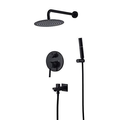 ZXY-NAN Handheld Showerheads Shower System with High Pressure 10 Inch Round Rainfall Shower HeadHandheld Shower Head Bathroom Rain Mixer Shower Combo Set Wall MountedBrass Bathroom Accessories