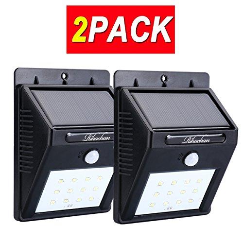 Solar Powered Motion Sensor Light 12 LEDs Wall Light for Yard Garden Deck Driveway Outside 2-pack