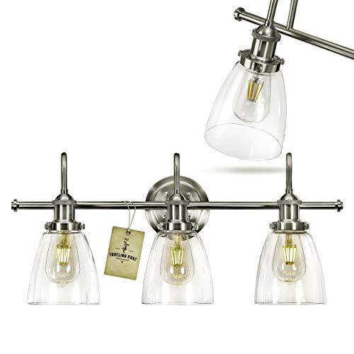 Bathroom Vanity Light Fixtures - Brushed Nickel Vanity Light Farmhouse Bathroom Lighting Fixtures Over Mirror