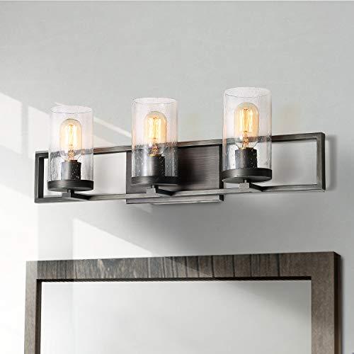 LALUZ Rustic Bathroom Vanity Light Fixture 3-Lights Industrial Bathroom Lighting with Seeded Glass