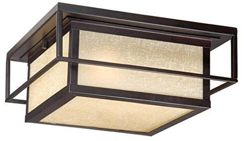 Vaxcel Rbofu120eb 2 Light Robie Flush Outdoor Close To Ceiling Light Espresso Bronze