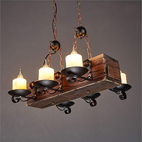 LAKIQ Farmhouse Hanging Chandelier Light 6 Lights Industrial Rustic Pendant Lighting Fixture Island Lights for Kitchen Island Dining Room Bar Restaurant