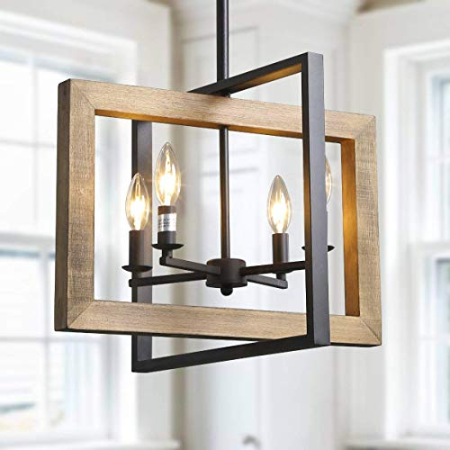 LOG BARN Farmhouse Kitchen Island Pendant Distressed Wood and Matte Black Metal Finish Large 18 Small Dining Room Light Fixture