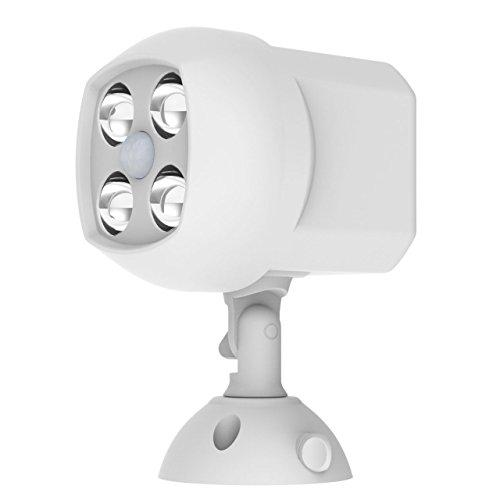 Easgear&reg Motion Sensor Light 600 Lumens Battery Operated 4 Led Weatherproof Spotlight Outdoor White