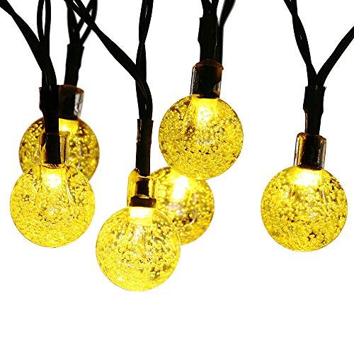 Qedertek Globe Outdoor Solar String Lights 20ft 30 Led Fairy Bubble Crystal Ball Holiday Party Decoration Lights