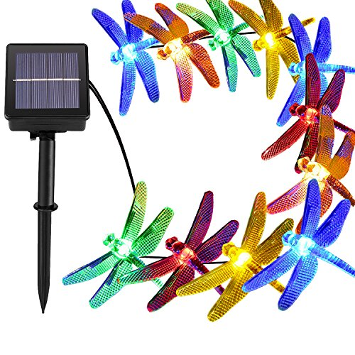 21ft 30 Led Solar Outdoor Dragonfly Lights  Outside String Lighting  8 Mode Steady Flash Waterproof Fairy Decorations for Patio Garden Yard Fence Christmas Tree Holiday Multi Color