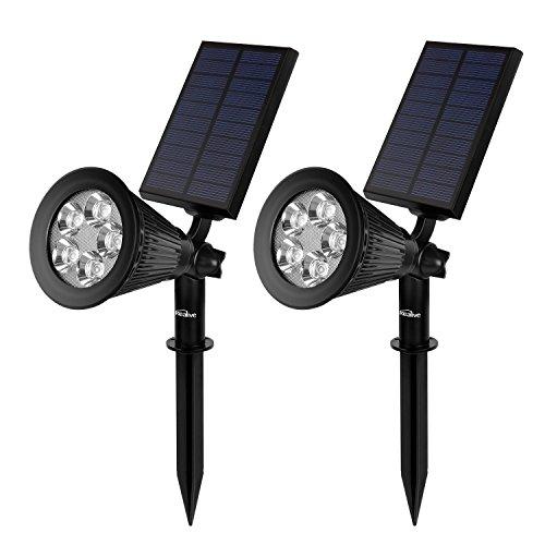 Kealive Solar Lights Outdoor Garden Lights with 5 LED Spotlights Waterproof Adjustable Auto Dark Sensor Landscape Light for Garden Lawn 2 pack