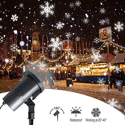 Christmas Snowflake Projector Lights Rotating LED Snowfall Projection Lamp Remote Control Waterproof Outdoor Landscape Decorative Lighting for PatioGardenHalloweenChristmasHolidayParty