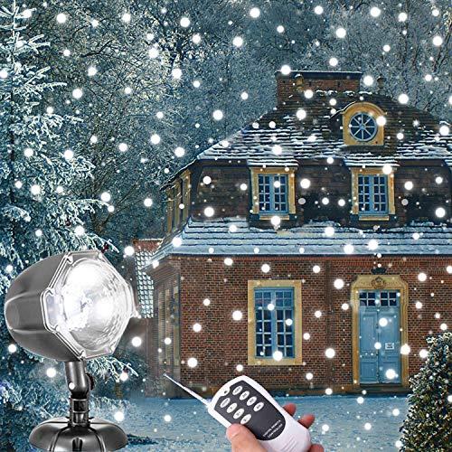 Snowfall LED Lights AOLOX Christmas Snowflake Rotating Projectors Lights Remote Control Waterproof Outdoor Landscape Decorative Lighting for PatioGardenHalloweenChristmasHolidayWeddingParty
