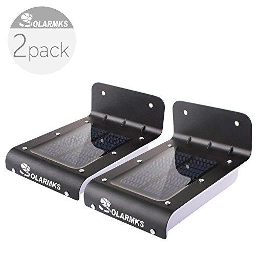 Solarmks Pm-1116 Solar Lights Black 16 Led Motion Sensor Solar Yard Lights Outdoor Pack Of 2
