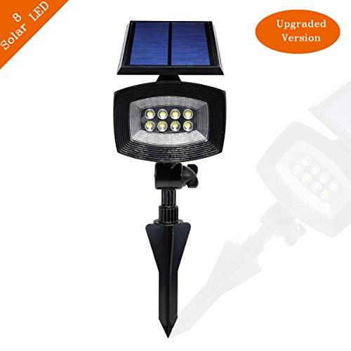 Solar Lights APOLLED 400 Lumens Adjustable Waterproof 8 LED Solar Outdoor Spotlights Solar Flood Light Night Lights Landscape Light with Security Auto- onoff Light Sensor