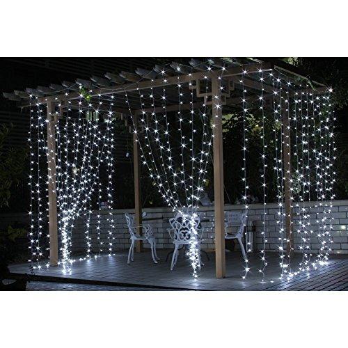 Lemonbest10Mx3M Pure White 1000 LED Indoor Outdoor Rope Lights Lamp Bulb String Strips Festival Party Christmas Xmas String Fairy Wedding Curtain Light 6000K 8 Modes Flashing LED String