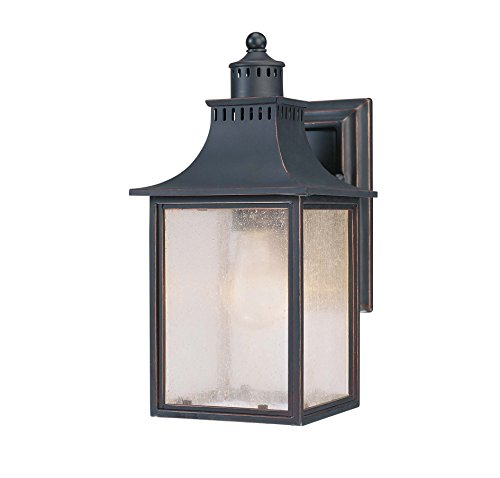 Savoy House Lighting 5-254-25 Monte Grande Collection 1-Light Outdoor Wall Mount 115-Inch Lantern Slate with Pale Cream Seeded Glass
