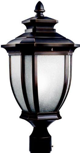 Kichler Lighting 9938rz Salisbury 1-light Outdoor Post Fixture Rubbed Bronze With White Linen Glass