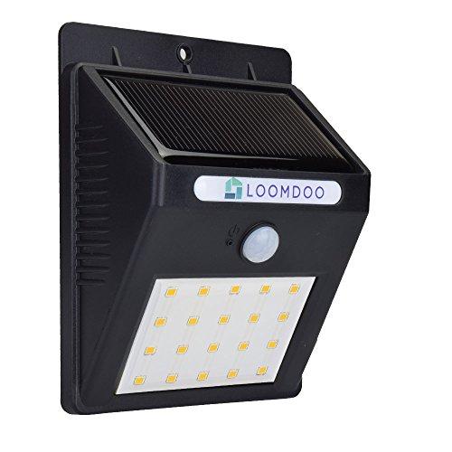 Loomdoo Solar Light 20 Led - Super Bright Solar Energy Powered Weatherproof Outdoor Lighting - No Wiring Necessary
