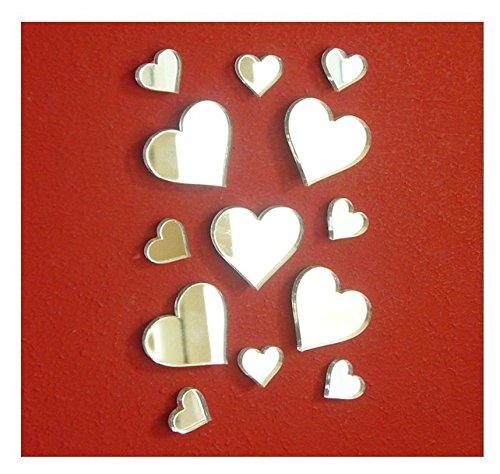 Heart Small Mirror Sticker DIY Craft& Scrapbooking Accessory Mirror StickerAcrylic Hearts Mirror Decal&Murals 50PCSlot