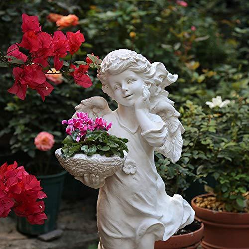 Monkibag Sculpture Garden Outdoor Garden Decoration Floor Stand Art American Country Resin Character Angel Sculpture Decoration Ornament Color  White Size  30x25x65cm